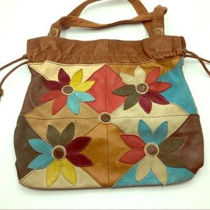 Lucky Brand Hobo Leather Flower Bag Purse